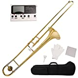 LAGRIMA Bb Slide Flat Tenor Trombone Gold Brass with Case MetroTuner Mouthpiece Care Kit for School Band
