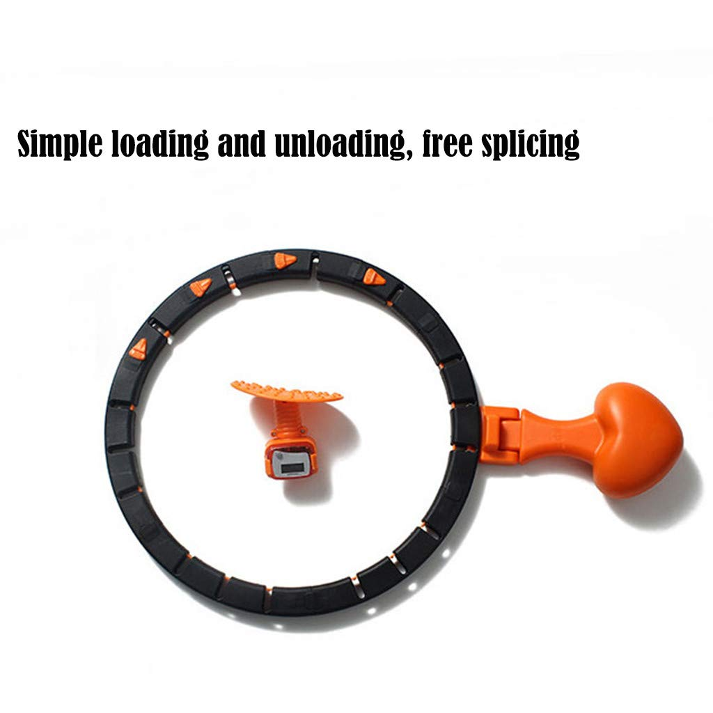Weight Loss /& Burning Fat Smart Counting Loop with Adjustable Waistband Auto-Spinning Hoop Orange Foldable Weight Hammer Magnetic Massage Board with Counter for Exercise Fitness Hoop for Adults