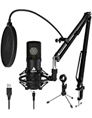 USB Microphone Kit, MAONO 192KHZ/24Bit Cardioid Condenser PC Microphone with Two Metal Stand for Podcasting, Gaming, Studio/Home Recording, Streaming, YouTube, ASMR