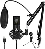 USB Microphone, 25mm Large Diaphragm MAONO AU-A425 Plus 192kHz/24Bit Cardioid Condenser PC Microphone with Two