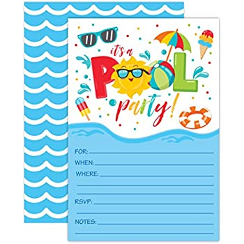 boy pool party birthday invitations summer pool party bash splash pad water park