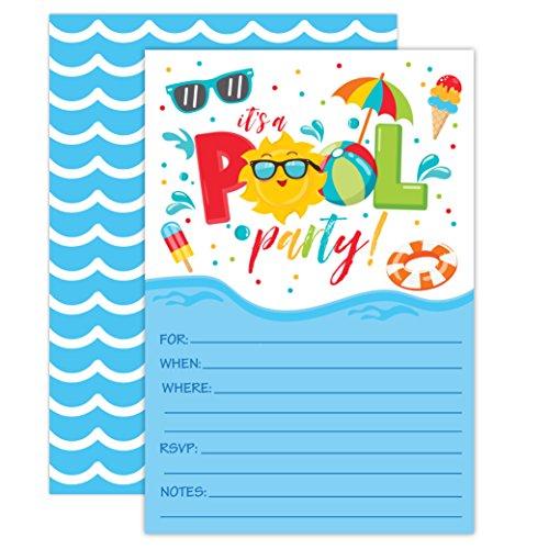 Bash Invitation - Boy Pool Party Birthday Invitations, Summer Pool Party Bash, Splash Pad, Water Park Invites, 20 Fill In Pool Party Invitations With Envelopes