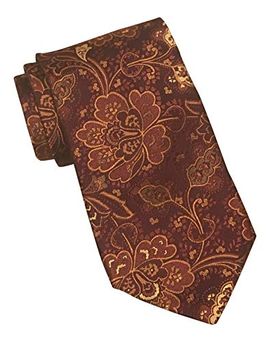 (Ike Behar Gold Label Burgundy Floral Paisley Textured Tie)