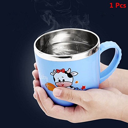 SUPZY [DOUBLE WALL] [stainless Steel + Plastic] Mug cup with Lid and Handle, Non-breakable Design for children (2-6Years old)100% Eco And Environmentally Safe ,SIZE:S (1 Pcs)(Blue)