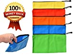 Canvas Zipper Bags - 5 Pack of Heavy Duty 16 oz. Canvas Bags with Strong Metal Zipper - 12.5'' x 7'' Canvas Tool Pouch - Make Up Organizer - School Supply Pouch - Durable Multi-Color Bags