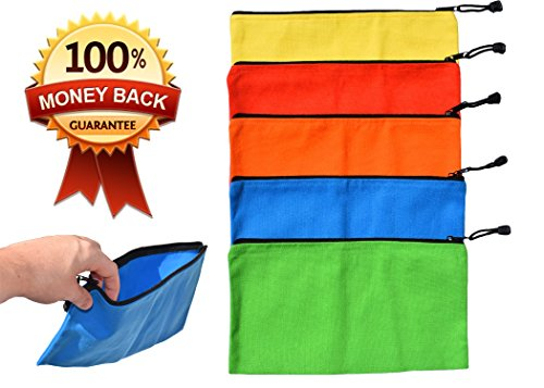 Canvas Zipper Bags - 5 Pack of Heavy Duty 16 oz. Canvas Bags with Strong Metal Zipper - 12.5'' x 7'' Canvas Tool Pouch - Make Up Organizer - School Supply Pouch - Durable Multi-Color Bags by Perfect Products