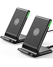 Wireless Charger, INIU [2 Pack] 15W Qi-Certified Fast Wireless Charging Stand with Sleep-Friendly Adaptive Light Compatible with iPhone 12 11 Pro XR XS X Plus Samsung Galaxy S20 Note 20 10 Google etc