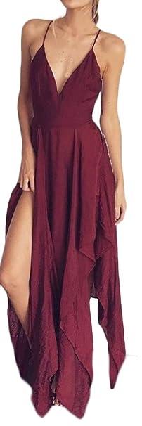 Vestidos De Fiesta Mujer Largo Elegante Sundress Tirantes V Cuello Espalda Abierta Fiesta Vestido Ropa Bonita Joven Fashionista Color Sólido Asimetricos ...