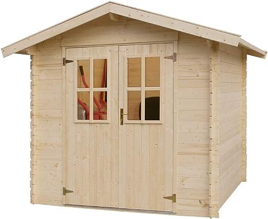 Gartenhaus 881457 - Cobertizo para jardín (madera de conífera, base de madera, sin tratamiento de color, 180 x 180 cm): Amazon.es: Jardín