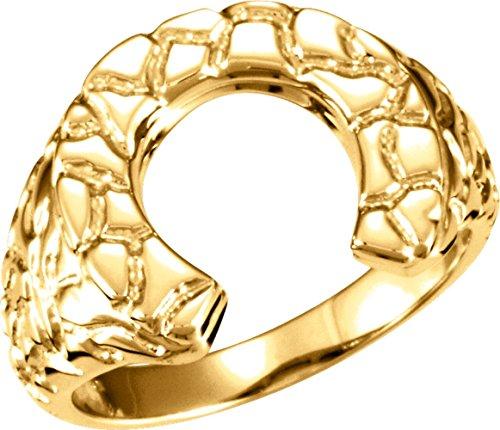 Horseshoe Men's Nugget Ring Mounting in 14K Yellow Gold (Size 10) 14k Yellow Gold Mens Mounting