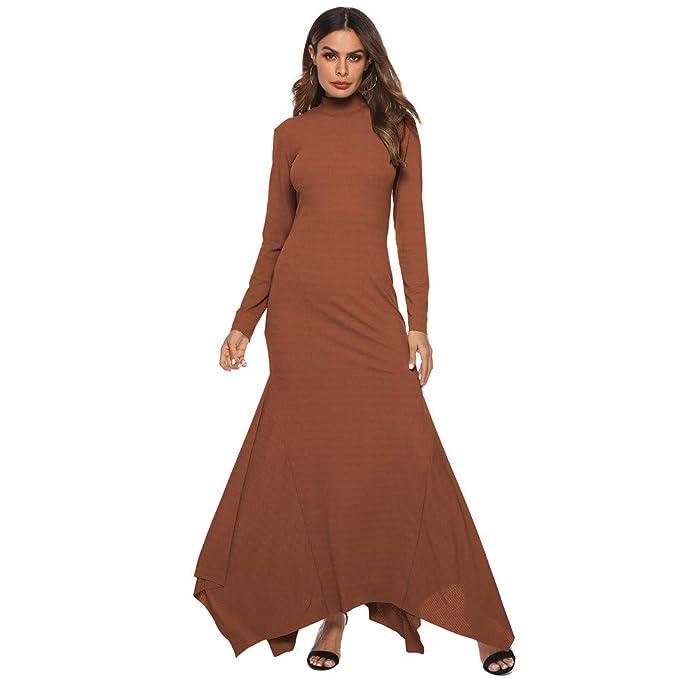 217e10897 Sylar Vestidos Invierno Mujer Largos Simple Color Sólido Cuello Redondo  Manga Larga Slim Fit Dobladillo Irregular Moda Vestido Largo Casual Falda   ...