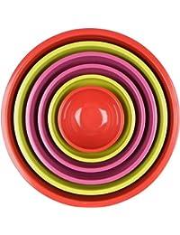 CheckOut 12-piece Set Melamine Kitchen Nesting Mixing Bowls, 6 Vibrant Colorful Bowls Plus Lids saleoff