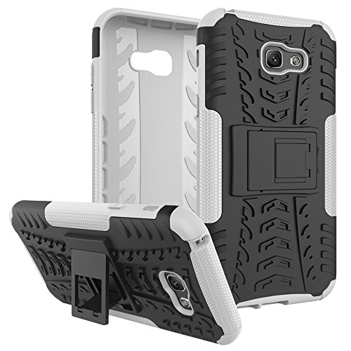 "Galaxy A7 (2017) Case, SsHhUu Tough Heavy Duty Shock Proof Defender Cover Dual Layer Armor Combo Protective Case Cover for Samsung Galaxy A7 (2017) (5.7"") White"