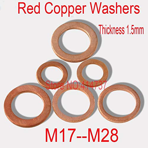 Ochoos M17-M28 Thickness 1.5mm Red Copper Washers Flat Seal Washer Copper gaskets - (Inner Diameter: 50pcs M17x23)