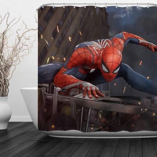 (Baccessor Super Hero Shower Curtain American Hero Spider Man, Hulk, Captain America, Black Panther and Iron Man Marvel Fans Favorite, 72