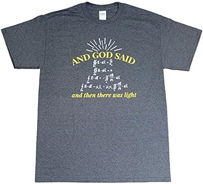 And God Said Light Physics Science Math Funny Adult Mens Heather Black T-Shirt