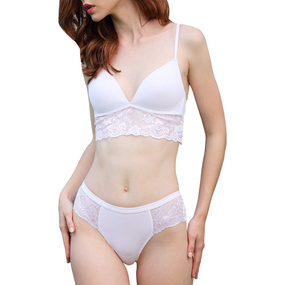 White Guoeappa Women's Smooth Wire Free Lightly Padded Longline Lace Triangle Contour TShirt Bra and Panty Set