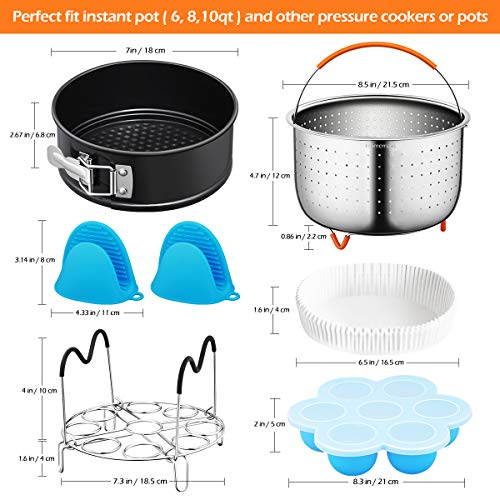 Pressure Cooker Accessories, Homemaxs 16 Pcs Instant Pot Accessories Compatible with 6,8,10Qt- Steamer Basket,Springform Pan,Egg Rack,Parchment Paper,Egg Bites Molds,Silicone Mitts - with Free Recipes by Homemaxs (Image #5)
