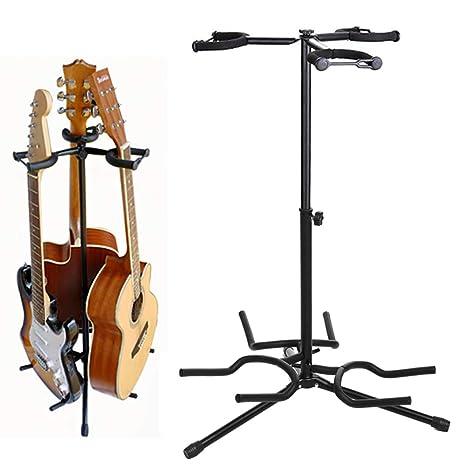 Soporte para guitarra de metal con 3 compartimentos, para guitarras acústicas y eléctricas, 3