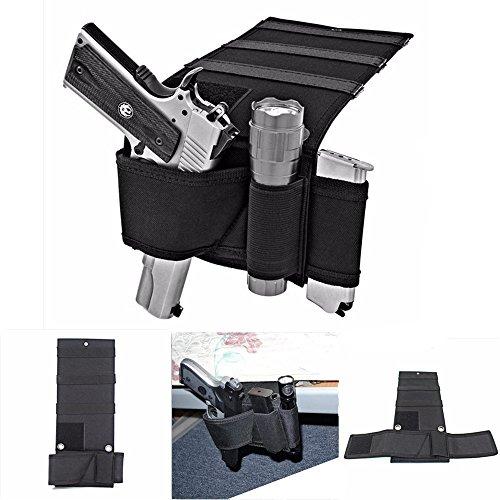 Bed Mattress Gun Holder - Car Seat Pistol Gun Holster - Adjustable Under Mattress Bedside Pistol Gun Holster Car Seat Desk Closet Gun Handgun Holster with Flashlight Loop Magazine Holder