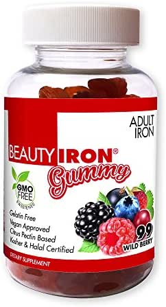 BeautyFit BeautyIron Iron Gummies For Women, Support for Healthy Iron Levels and Energy without Nausea or Constipation, Vegan-Approved, Gelatin-Free, 99 Count