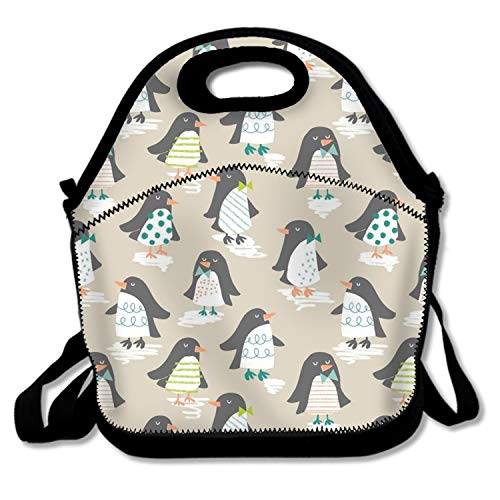 Insulated Waterproof Lunch Tote,Classic Durable Picnic Bag Perky Penguin