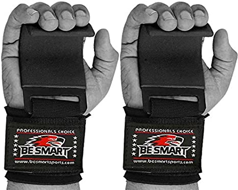 BeSmart Weight Lifting Gym Straps Grips Wrist Palm Support Wraps Training Gloves