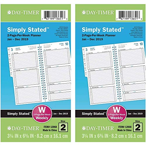 "Day-Timer 2019 Weekly Planner Refill, 3-1/2"" x 6-1/2"", Pocket Size 2, Wirebound, Two Pages Per Week, Simply Stated 2 Pack"