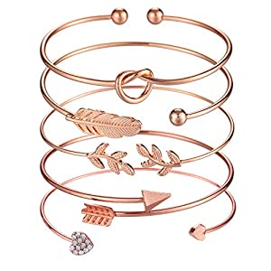 Softones 5pcs Bangle Rose Gold Bracelets for Women Girls Heart|Olive Leaf|Arrow|Feather|Knot Heart Open Cuff Bracelet Set Adjustable