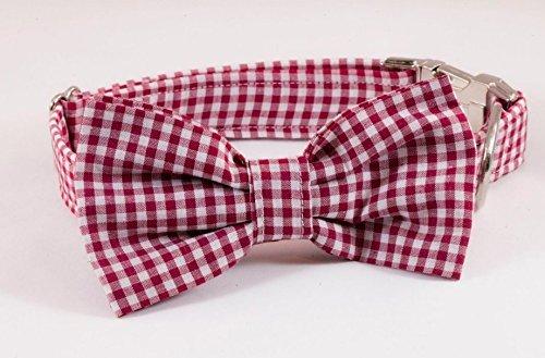 Garnet Bow (Garnet Gingham Dog Bow Tie Collar)