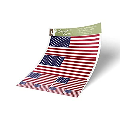 United States of America USA Country Flag Sticker Decal Variety Size Pack 8 Total Pieces Kids Logo Scrapbook Car Vinyl Window Bumper Laptop American V
