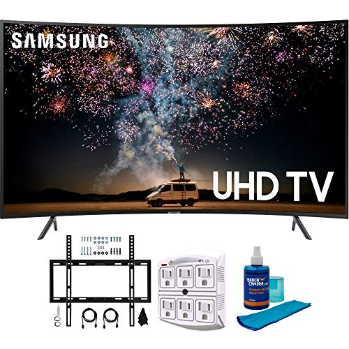 "Samsung UN65RU7300 65"" RU7300 HDR 4K UHD Smart Curved LED TV (2019 Model) with Wall Mount Bundle Includes Screen Cleaner + 6-Outlet Surge Adapter + Flat Wall Mount Kit Ultimate Bundle for 45-90 TVs"