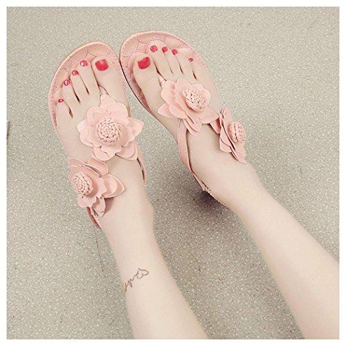 Summer Sandals, Inkach Women Flowers Flat Shoes Bohemia Beach Sandals Peep-Toe Flip Flops Shoes Pink