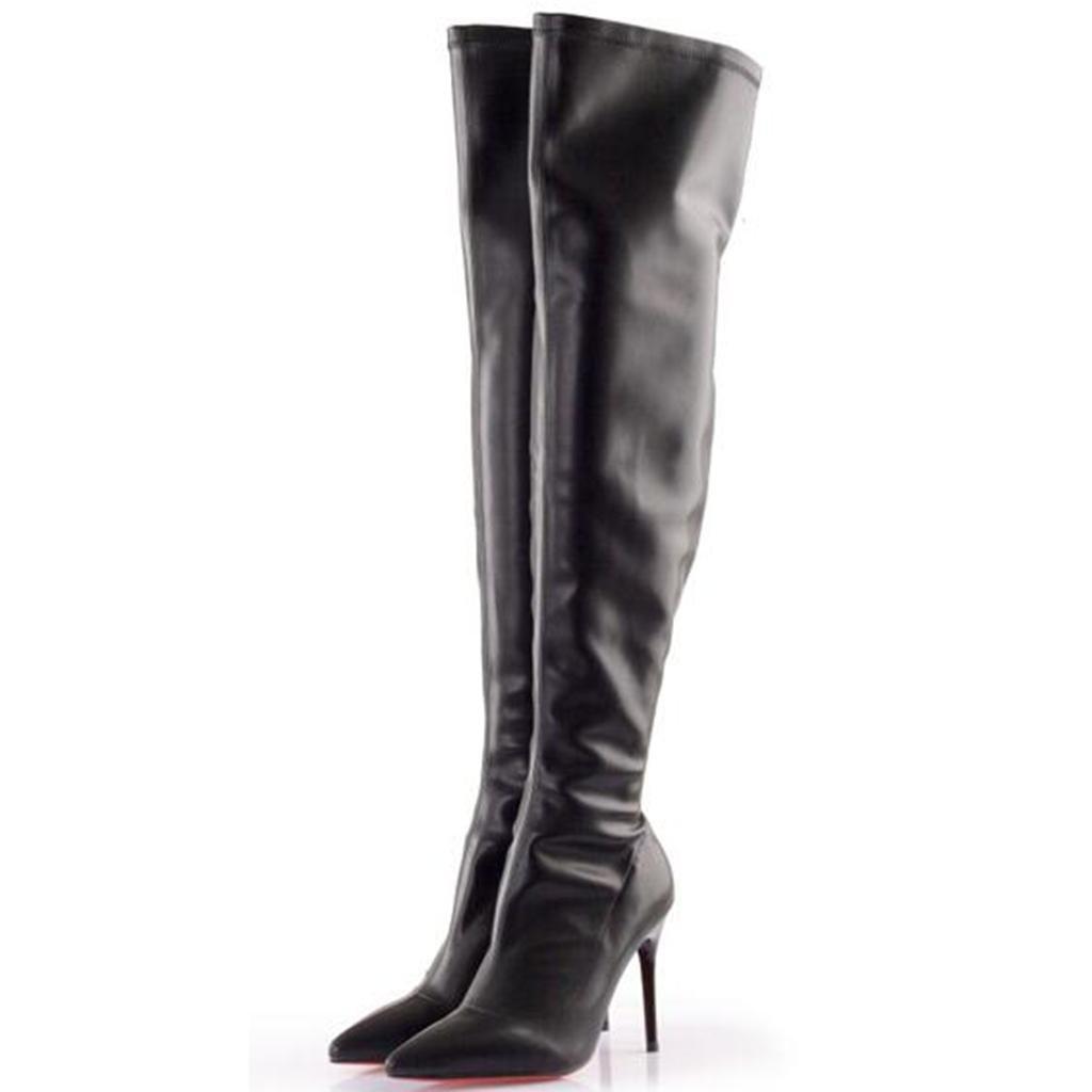 Damen High Heel Knieschuhe Stiefel Damen Fein mit Spitz Lackleder Elastizität Knieschuhe Heel Hohe Stiefel Messingstiefel, schwarz, 40 - 11d80b