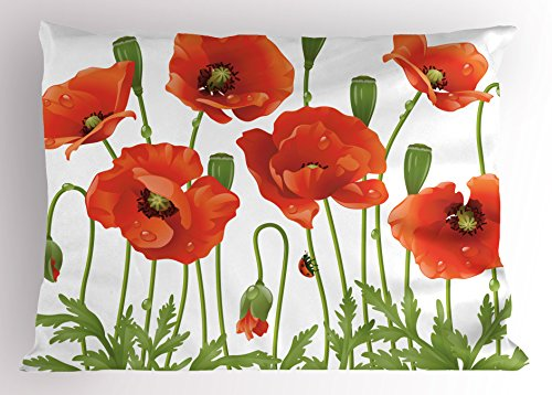 (Ambesonne Flower Pillow Sham by, Spring Wild Flower Poppy Ladybug Leaf Springtime Garden Nature Backyard Print, Decorative Standard Size Printed Pillowcase, 26 X 20 Inches, Orange)