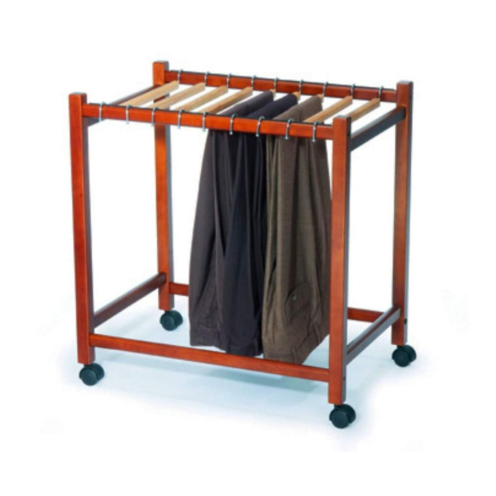 BS Brown Wooden Rolling Pant Trouser Trolley Cart Organizer Garment Rack Clothes Hanger Storage Holds 10 Pairs of Slacks Pants Easy Remove & eBook by BADA Shop