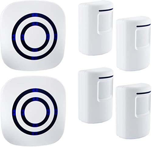 Adust Motion Sensor Alarm, Wireless Driveway Alarm, Home Security Business Detect Alert with 4 Sensor and 2 Receiver,38 Chime Tunes – LED Indicators