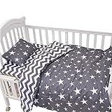 CC Shop Lovely Baby Toddler Infant Kids Cotton Crib Bedding Set (Gray Star & Stripe)