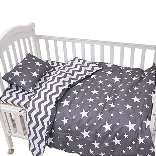 CC Shop Lovely Baby Toddler Infant Kids Cotton Crib Bedding Set (Gray Star & Stripe) from CC Shop