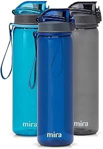 MIRA Reusable Tritan Water Bottle | BPA-Free Plastic Sports Water Bottle | Leak Proof Locking Flip Top Lid with Easy Flow Spout