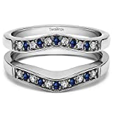 Silver Contour Style Ring Guard with Millgrained Edges with Diamonds and Sapphire (0.26 ct. twt.)