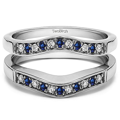 Silver Contour Style Ring Guard with Millgrained Edges with Diamonds and Sapphire (0.26 ct. twt.) by TwoBirch