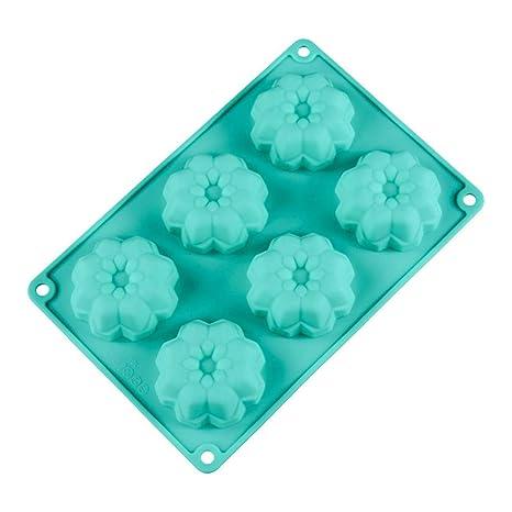 MolDe Silicona Reposteria Pastel para Hornear MolDe Patrón de Flores Creativo Silicona Chocolate MolDe Cian