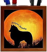 Rikki Knight Belgian Sheepdog Silhouette by Moon Design 5-Inch Wooden Tile Pen Holder (RK-PH8451)