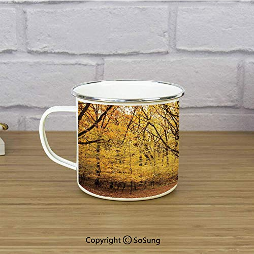 Fall Decorations Enamel Camping Mug Travel Cup,Epic View Deep Down in Forest with Shady Leaves Rural Habitat Scene,11 oz Practical Cup for Kitchen, Campfire, Home, TravelYellow Brown