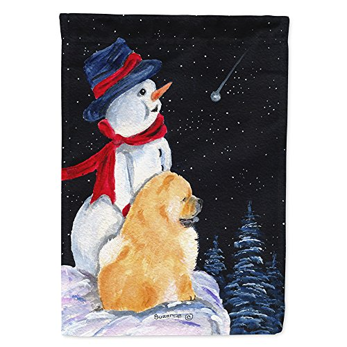 Caroline's Treasures SS8554GF Snowman with Chow Chow Flag, Small, Multicolor ()