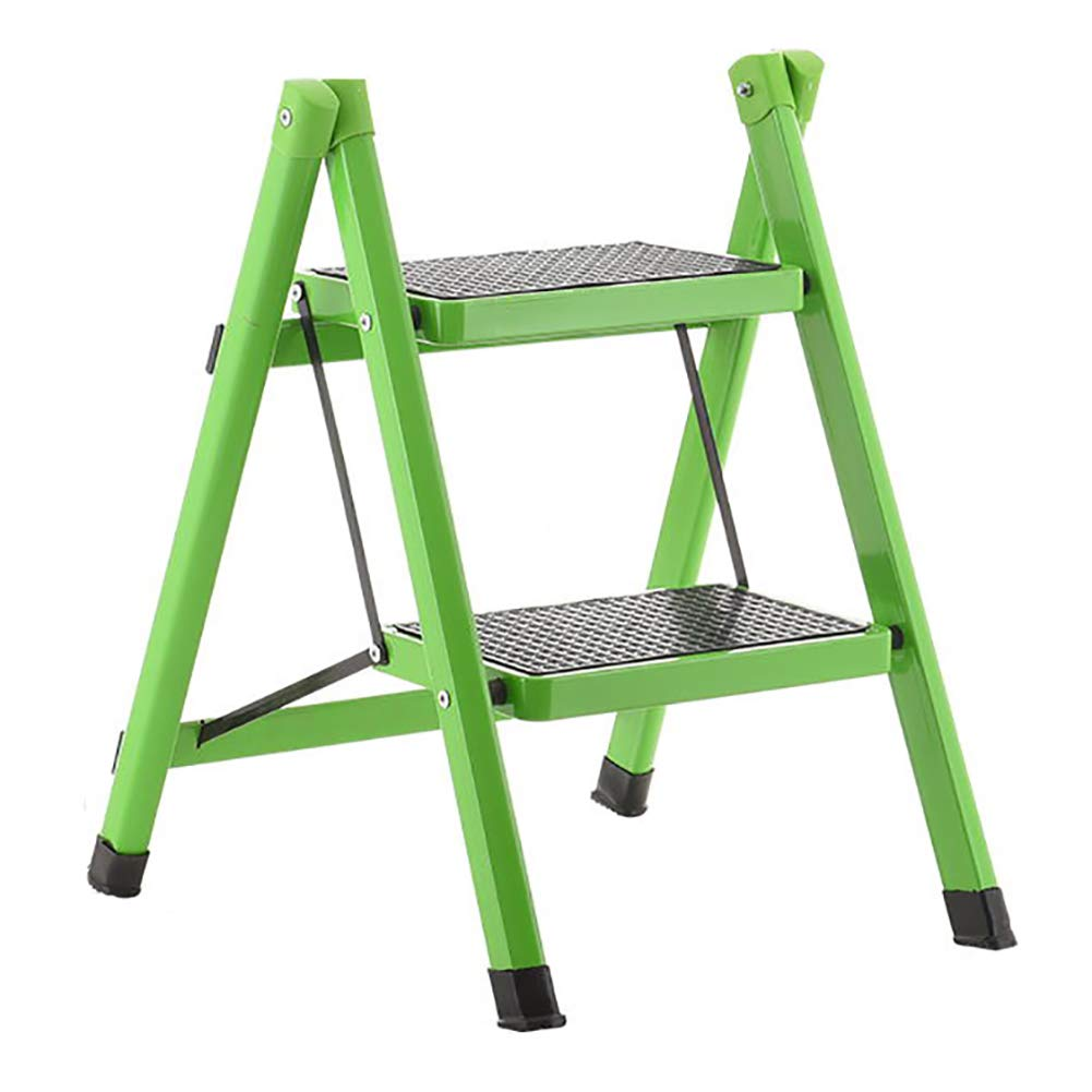 LXF Step stool 2 Step Stool Metal Anti Slip Rubber Mat Lightweight Safety Non Slip Mat Heavy Duty Steel Kitchen Stool Home Anti Slip Foldable