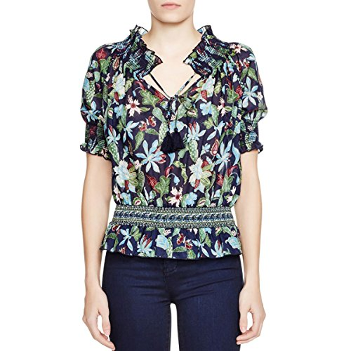 Tory Burch Womens Cotton Floral Print Peasant Top Navy 10 by Tory Burch (Image #1)