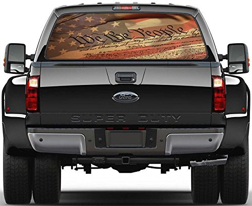 USA Flag We Are The People Rear Window Decal Sticker Car Truck SUV Van 224, Large