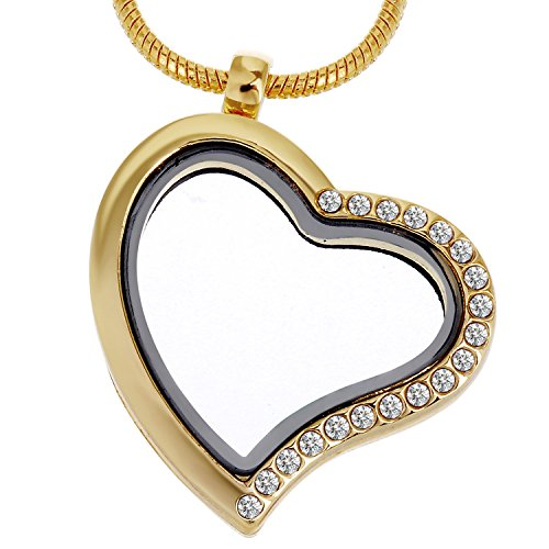 RUBYCA Living Memory Heart Locket Snake Chain Necklace Crystal Floating Charm DIY Gold Tone 1Pcs
